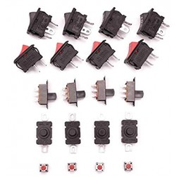 5 type switch Slide, Push, and Rocker switch 4 pieces + Male Plug and Female Socket Panel Mount Jack DC Connector-Pair of 5