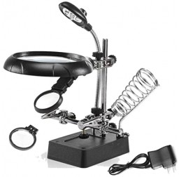 Helping Hand Soldering Stand Magnifying 5 LED Auxiliary Clamp